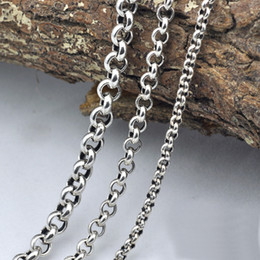 Discount christmas sweaters for men - Vintage Sweater Chain 925 Sterling Silver Necklace For Men Handmade Round Chain Link Female Male Clavicle Silver