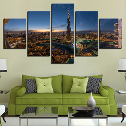 Homes Building NZ - Home Decor Framework 5 Pieces City Building Scenery Poster Modular Canvas Pictures Living Room Wall Art Modern HD Print Painting