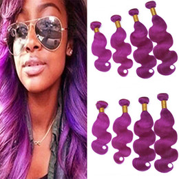 $enCountryForm.capitalKeyWord Australia - Virgin Indian Purple Human Hair Weave 4 Bundles Deals Body Wave Wavy Light Purple Hair Double Wefts Extensions 400g Mixed Length