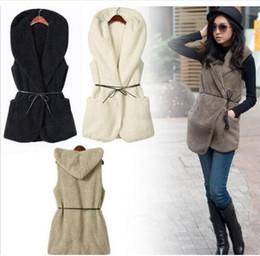 Discount fashion winter vest woman - women Warm Fleece Vests jackets Winter Hooded Waistcoats Ladies Casual Sleeveless Coats Outwears Vest with waistband KKA