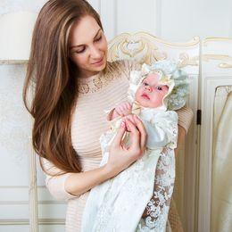 Baby Wash Hair Australia - European Court retro lace sleeve long sleeves 100 days winter baby wash dress send hat hair ribbon
