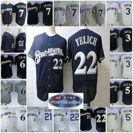 Mens 7 Eric Thames Jerseys 3 Orlando Arcia 5 Jonathan Villar 6 Lorenzo Cain  Travis Shaw 22 Christian Yelich Flex base baseball Jersey S-3XL 3f282c4a4