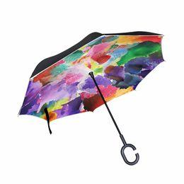 $enCountryForm.capitalKeyWord Australia - 2017 Vintage Gorgeous Colorful Floral Pattern Reverse Umbrellas Women Rain Windproof Inverted Umbrella for Car