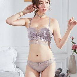 b85dbaebcd9c7 Japanese style small seamless young girls intimates push up 1 2 cup women  sexy hollow out underwear fashion transparent bra sets