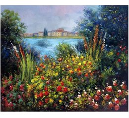 art deco canvas prints Canada - Claude Monet Flowers at Vetheuil High Quality Handpainted &HD Print landscape Art Oil Painting On Canvas Home Deco Wall Art Multi sizes l153