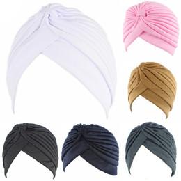 China New Women Holiday Cap Solid color Muslim Turban Cap Women Elastic Stretchy Beanies Hat Bandanas Big Satin Bonnet Indian cheap white cotton bandanas wholesale suppliers