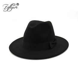 Discount blue bowler hats - Zgllywr Fedora Hat for Women Men Autumn Winter Wide Brim Brown Jazz Hat Flat Brim Felt Cap Trilby Wool Bowler Hats Jewis