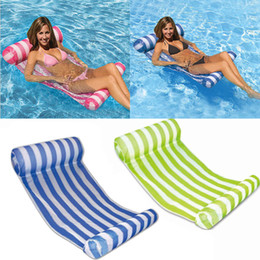 water floating beds 2019 - New Inflatable Floating Water Hammock Swimming Pools Spas Bed Chair For Beach Playing Tool 70*132cm WX9-591 cheap water