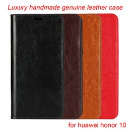 Multi Wallet Case NZ - for huawei honor 10 case luxury handmade Genuine leather multi-function wallet kickstand card slot flip cover for honor10