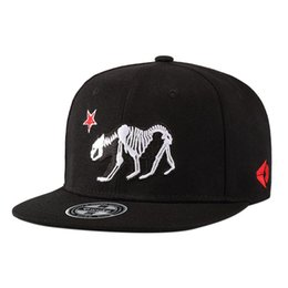 04c503bbfd4 ZACOO Men Flat Eaves Fashion Wolf Skeleton Embroidery Baseball Cap Hip-hop  Hat as Perfect Gift CLEAR OUT STORK