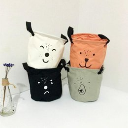 Discount baskets for clothes storage - New Style Cartoon solid Canvas Cotton Linen Clothing storage Laundry Basket Bags for Toys Book towels Basket