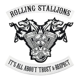 $enCountryForm.capitalKeyWord NZ - ROLLING STALLIONS Motorcycle club Patch MC Embroidered Full Back Large Applique For Rocker Biker Vest Patches for clothing Free Shipping