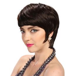 Short Human Hair Wig Sale UK - Hot Sale Pixie wigs 130 Density Hot short cut wigs glueless brazilian short full lace bob human hair wigs bob for black women