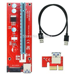 sata power supply adapter 2019 - JONSNOW VER 007S Red PCI-E 1X to 16X Riser Card Extender PCI Express Adapter USB 3.0 Cable  15Pin Professional SATA Powe