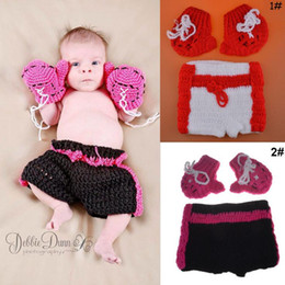Crochet Baby Photo Outfits Australia - 1 Set Baby Photography Clothing Infant Crochet Boxing Outfit Newborn Photo Props