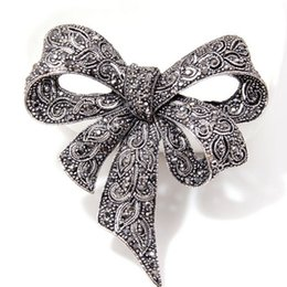 Large Lapel Suits Australia - Retro Rhinestone Bowknot Luxury Brooch 6cm*6.5cm Large Size Suit Lapel Pin Brooch for Party Famous Jewelry Accessories