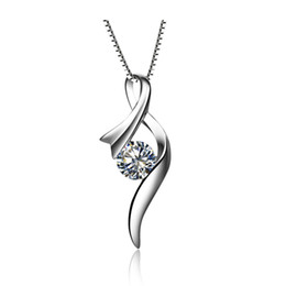$enCountryForm.capitalKeyWord UK - Awesome 0.5Ct Round Cut Synthetic Diamonds Pendant Sterling Silver Pendant Necklace White Gold Color Jewelry Free Chain & Box