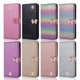 Discount pink glitter butterflies - Bling Butterfly Glitter Wallet Leather Case For Samsung Galaxy S9 Plus J330 J530 J730 NOTE8 A8 2018 Diamond Phone Flip S