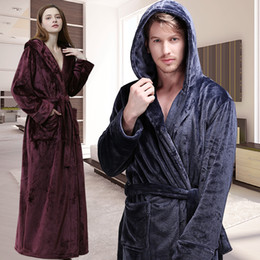 long thick robes Canada - Men Women Winter Hooded Extra Long Thick Flannel Warm Bath Robe Plus Size Luxury Soft Thermal Bathrobe Dressing Gown Male Robes