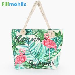 Flamingo handbags online shopping - Hot Sale Flamingo Printed Casual Bag Women Canvas Beach Bags High Quality Female Single Shoulder Handbags Ladies Tote S1732