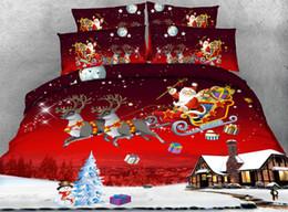 Santa Claus Queen Size Bedding NZ - *S X'mas Series 4pcs twin double queen Super King Size Christmas bedding sets 3D Santa Claus duvet cover set