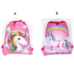 Chinese  Hot 34*27 cm Unicorn Drawstring Backpack Girls Princess Kids Theme Party Backpack Candy Bags School backpack DHL free shipping manufacturers