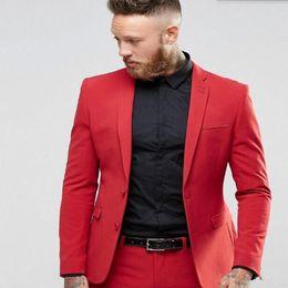 015aac630e5 Brand New Red Men Wedding Tuxedos High Quality Groom Tuxedos Notch Lapel  Two Button Center Vent Men Blazer 2 Piece Suit(Jacket+Pants+Tie)802