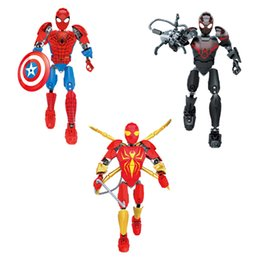 iron man block figure Canada - Avengers Super Hero Iron Spiderman Morales Spider-man Buildable Action Figure Movable Joint Miniature Building Block Toy Plastic Brick