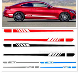 $enCountryForm.capitalKeyWord NZ - 2Pcs Auto Side Skirt Car Stickers And Decals Racing Stripe Vinyl Car Styling Labels Body Sticker Accessories For Mercedes Benz C Class AMG