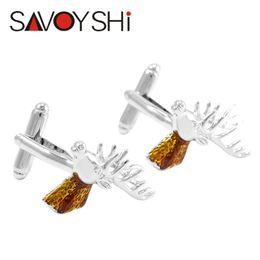 silver enamel cufflinks 2019 - SAVOYSHI Silver Deer Head Cufflinks for Mens Shirt Brand Cuff Bottons High Quality Enamel Cufflinks Christmas Gift Men J