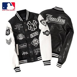 Wholesale couples leather jackets resale online – Tide brand NYMLB baseball uniform couple embroidery jacket men s leather jacket couple jacket female Yankees team tide brand thick baseball