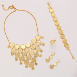 arab ring 2019 - New exquisite Bridal wedding Gold Color Muslim Coin Necklace Earrings Ring Bracelet Set Middle East Arab Jewelry gift ch