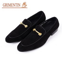 Genuine Suede Leather NZ - Grimentin Hot Sale Formal Men Dress Shoes Italian Fashion Slip-On Mens Loafers Suede Genuine Leather Designer Formal Wedding Male Shoes WF