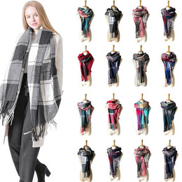 Scarf Air NZ - Hot sale autumn and winter fashion 12 colors Lovers Lattices kerchief air conditioning shawls colorful scarf T3C0050