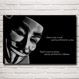Oil Pictures Silk NZ - 1 Pcs Movie V For Vendetta Mask Art Silk print Poster wall Decorative Pictures 24x36 Inches Free Shipping