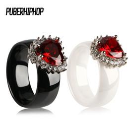 Cz Heart Cluster Ring Australia - Luxury Big Red Rhinestone Heart Women Rings 2 ct CZ Rings Female Ring Bijoux Women Wedding Engagement Exquisite Ring Jewelry
