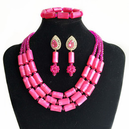 Pink African Beads Jewelry Set Australia - Brand amynova Nigerian women wedding jewelry sets African Bridal Beads Jewelry Pink imitation coral beads necklace Sets 2018