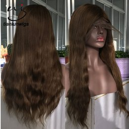 $enCountryForm.capitalKeyWord NZ - Natural Wavy Style Remy Human Hair #5 Color Part Anywhere Full Lace Wig 150% Density Full Cap Toupee for Women