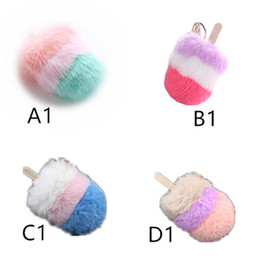 $enCountryForm.capitalKeyWord UK - designer keychain Cream Hair Ball Key Ring Cream Hair Ball Pendant Candy Color Pendant Three Color Stitching Key Ring