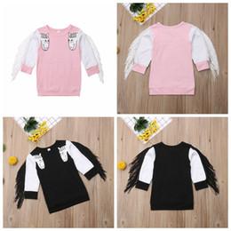 Girls Tassel Shirt Australia - Baby unicorn tassel T-shirts spring autumn long sleeve sweatshirt children girls boys cartoon tops Boutique Tees kids Clothing MMA1000