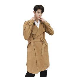 fdfb00014a8 Осень зима мужчины замша хип-хоп панк длинные пальто корейский стиль ночной  клуб Мужской певец slim fit куртки сценический костюм пальто