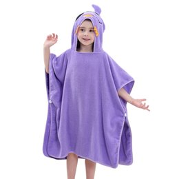 kids embroidered towels 2018 - MICHLEY Hooded Animal Baby Bathrobe 6 Colors Cartton Towels Cotton Kids Solid Robes Summer New Arrival for 0-7 Year&#039