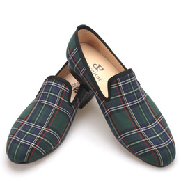 Chinese  Scotch plaids Fabric Handmade Men shoes Red and Blue Casual loafers Banquet and Prom Men Flats manufacturers