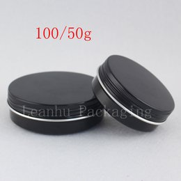 $enCountryForm.capitalKeyWord NZ - 50g 100g Black Aluminum Jars Screw Lid ,Empty Cosmetics Cream Container Ointment Solid Perfume Metal Can ,Tea Pot Candle Bottle
