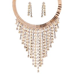 $enCountryForm.capitalKeyWord UK - Crystal Necklace Earring Set , Europe and America Fashion Multilayer Tassel Diamond Clavicular Chain Collar Alloy Jewelry Clothing Women