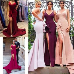 bridesmaid dresses dubai Australia - Elegant Side Split Bridesmaids Dresses Sexy V-Neck Zipper Back Satin Wedding Guest Dress Prom Dresses Elegant Dubai Mermaid Bridesmaid Dress