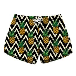 pineapple shorts UK - Women Short Beach Shorts Pineapple Zig Zag 3D Full Print Girl Casual Swimming Shorts Lady Digital Graphic Beach Pants (RLLbp-6004)
