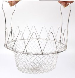 French Cooking Tools Australia - Multi-Function Foldable Steam Rinse Strainer Stainless Steel Colander Magic Mesh Basket Drainer Frying French Fryer Cooking Tool wn579 50pc