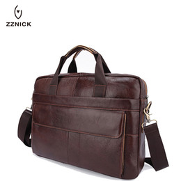 Discount new white laptop - ZZNICK 2018 NEW Genuine Leather genuine leather laptop bag Handbags Cowhide Men Crossbody Bag Men's Travel briefcas