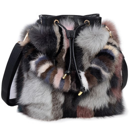a368cc7e51 High-End Ladies Real Fox Fur Bucket Bag Women Tote Bags Genuine Leather  Design Shoulder Bag Cowhide Handbag evening Party